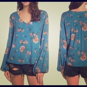 Blue floral bacon sleeve top